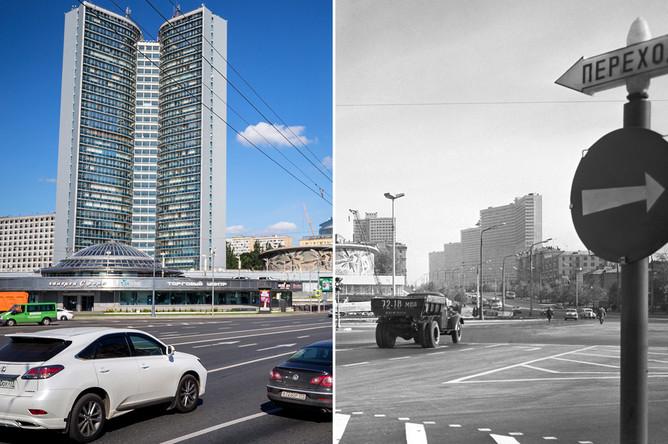 Здание правительства Москвы на Новом Арбате, 2017 год и здание секретариата Совета экономической взаимопомощи (СЭВ) на проспекте Калинина, 1968 год
