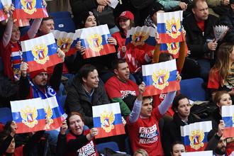 Болельщики во время матча между Россией и Швецией в Москве, 14 декабря 2017 года