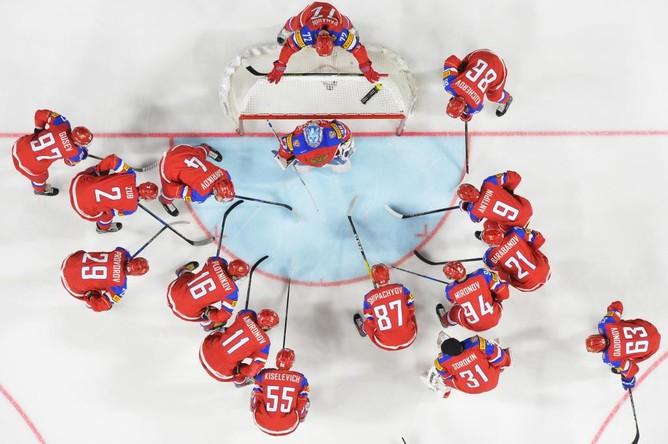 Сборная России по хоккею перед матчем против команды Дании