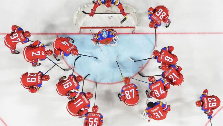 Сборная России похоккею передматчем против команды Дании