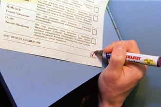 Избиратель голосует «Против всех кандидатов»