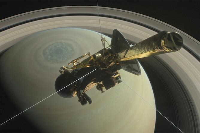 Космический зонд Cassini над поверхностью Сатурна (иллюстрация)
