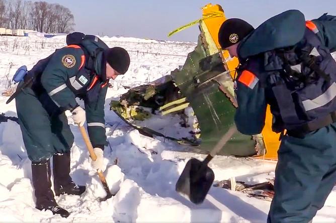 Обломки пассажирского самолета Ан-148 после крушения в Раменском районе Подмосковья, 13 февраля 2018 года