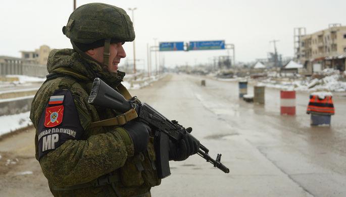 Патруль российской военной полиции в провинции Идлиб, февраль 2020 года
