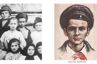 Единственная фотография, на которой запечатлен Павлик Морозов (в центре) / Агитационный плакат, нарисованный с этой фотографии