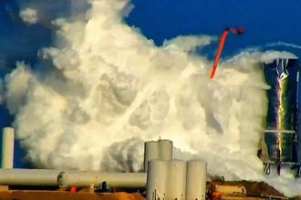 Авария с прототипом ракеты SpaceX, кадр из видео, 20 ноября 2019 года