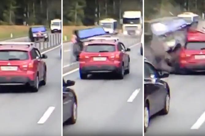Последствия аварии с участием нескольких автомобилей на Минском шоссе в Подмосковье, 11 сентября 2018 года