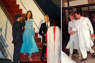 Принцесса Диана в Пакистане в 1996 году и герцогиня Кембриджская Кэтрин в 2019 году, коллаж