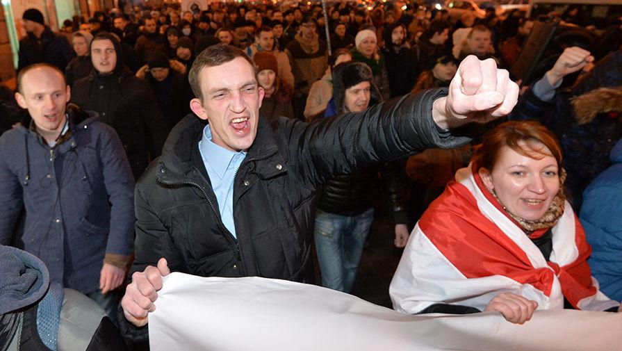 Акция против «декрета о тунеядцах» в Минске, февраль 2017 года