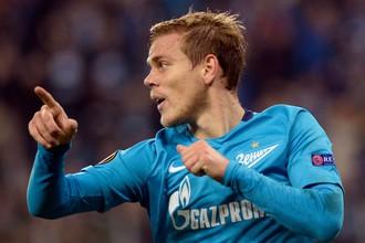 Нападающий «Зенита» Александр Кокорин празднует гол в матче четвертого тура группового этапа Лиги Европы с датским «Русенборгом»