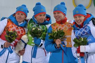 Российские биатлонистки Яна Романова, Ольга Зайцева, Екатерина Шумилова, Ольга Вилухина