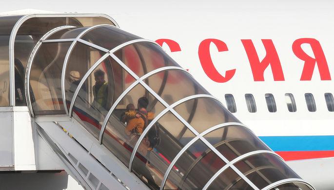 Самолет Ил-96 специального летного отряда «Россия» с бортовым номером RA-96023 в британском...