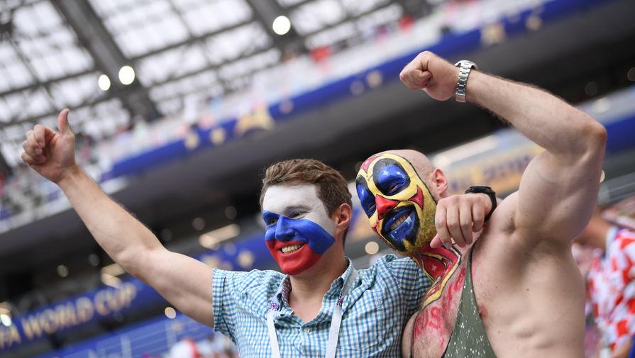 Болельщики на стадионе «Лужники» перед финальным матчем ЧМ-2018