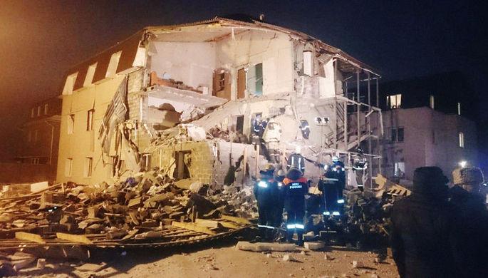 Жилой дом в Красноярске, в котором произошел взрыв, 14 февраля 2019 года