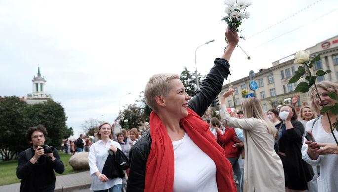 Член президиума координационного совета белорусской оппозиции Мария Колесникова во время женской демонстрации в Минске, 29 августа 2020 года
