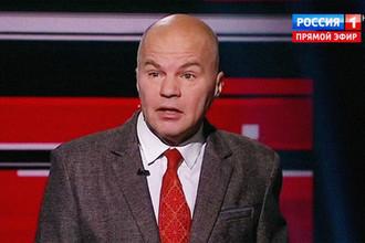 Вячеслав Ковтун во время очередного эфира шоу с Владимиром Соловьевым, кадр из видео
