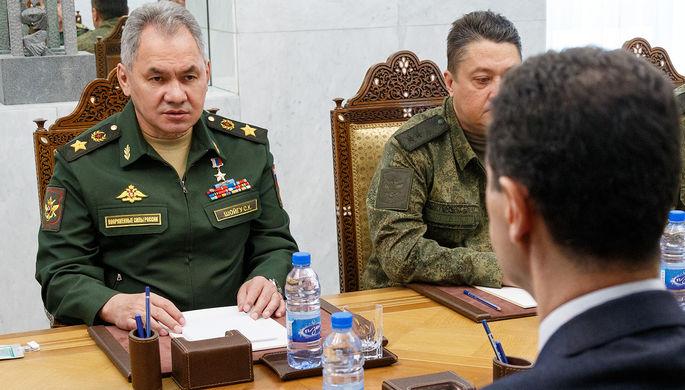 Министр обороны России Сергей Шойгу во время переговоров с президентом Сирии Башаром Асадом в Дамаске, 23 марта 2020 года