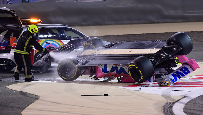 Переворот машины Лэнса Стролла на Гран-при Бахрейна «Формулы-1»