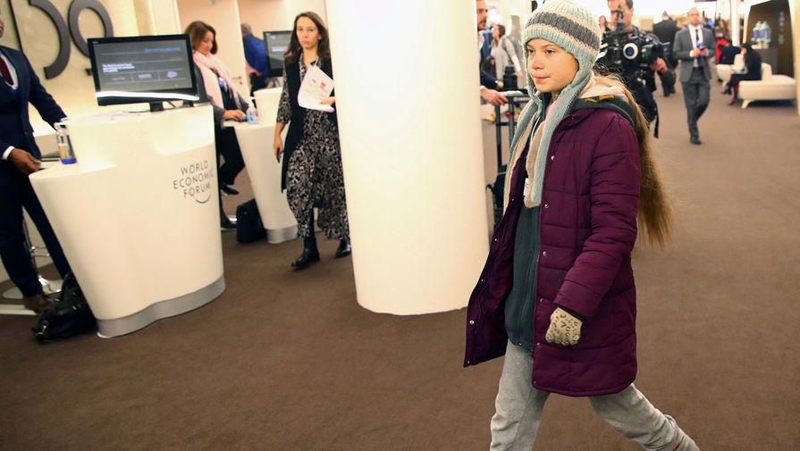 Экоактивистка Грета Тунберг на Всемирном экономическом форуме в Давосе, 21 января 2020 года