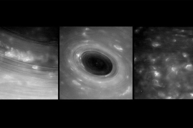Фотографии, которые были переданы зондом Cassini, после того как он совершил «нырок» между колец Сатурна