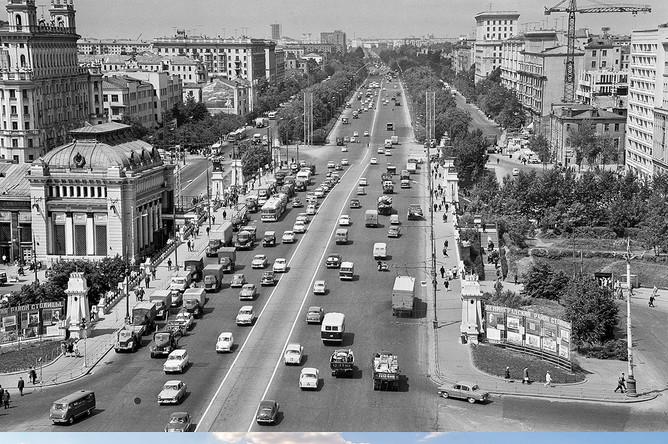 Ленинградский проспект, 1966 и 2017 год