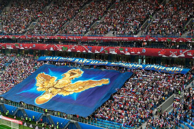 Болельщики перед началом матча Кубка конфедераций – 2017 по футболу между сборными России и Новой Зеландии в Санкт-Петербурге