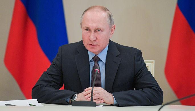 Владимир Путин во время совещания по наиболее актуальным международным проблемам, 1 марта 2020 года