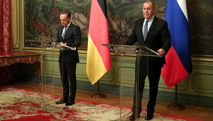 Министр иностранных дел Германии Хайко Маас и глава МИД России Сергей Лавров на пресс-конференции по итогам встречи в Москве, 11 августа 2020 года