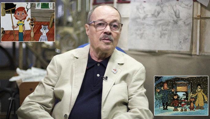 Кадр из интервью с Аркадием Шером и кадры из мультфильмов «Каникулы в Простоквашино» и...