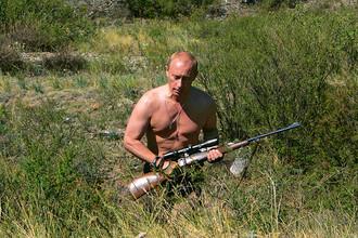 Владимир Путин в районе отрогов Западных Саян (Республика Тыва), 2007 год