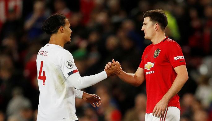 Верджил ван Дейк (слева) и Гарри Магуайр по окончании матча «Манчестер Юнайтед» — «Ливерпуль»