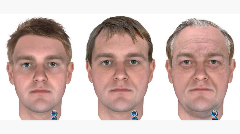Составленный по ДНК портрет убийцы в 25, 45 и 65 лет