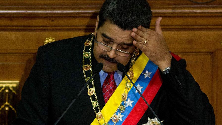 Президент Венесуэлы Николас Мадуро во время выступления в Национальной ассамблее с обращением к...