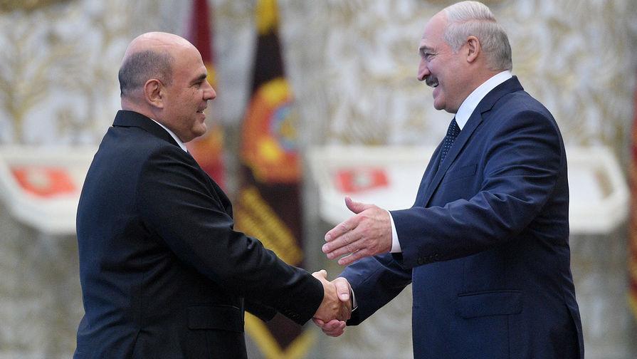 Председатель правительства РФ Михаил Мишустин и президент Белоруссии Александр Лукашенко во время встречи в Минске, 3 сентября 2020 года