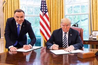 Президент Польши Анджей Дуда и президент США Дональд Трамп в белом доме, 19 сентября 2018 года
