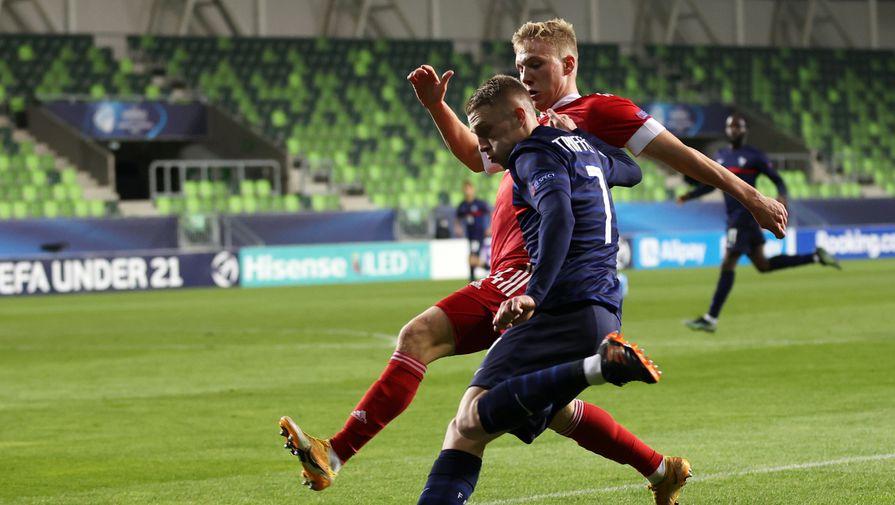 Павел Маслов в матче Россия — Франция на молодежном Евро