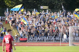Украинские фанаты на футбольном матче