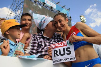 Екатерина Конева после победы в тройном прыжке