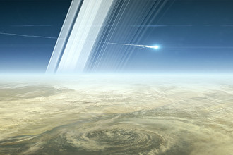 Космический зонд Cassini сгорает в слоях атмосферы Сатурна (иллюстрация). Аппарат завершит свою миссию именно таким образом 15 сентября 2017 года