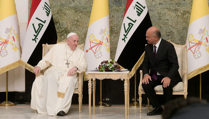 Папа Римский Франциск и президент Ирака Бархам Салех, 5 марта 2021 года