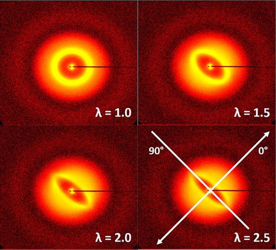 Двумерные дифрактограммы, полученные во время растяжения образца