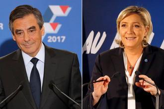 Кандидаты на пост президента Франции Франсуа Фийон и Марин Ле Пен