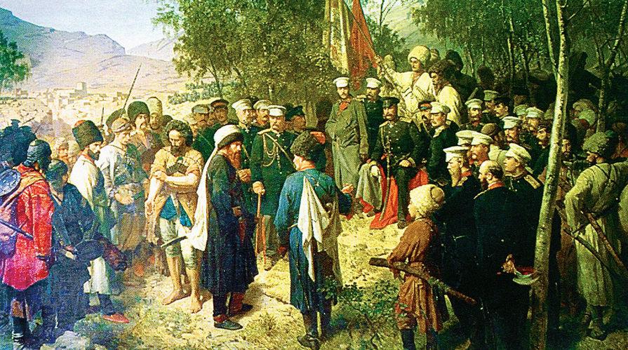 Теодор Горшельт. 1863 год. Пленный Шамиль перед главнокомандующим князем А. И. Барятинским 25 августа 1859 года