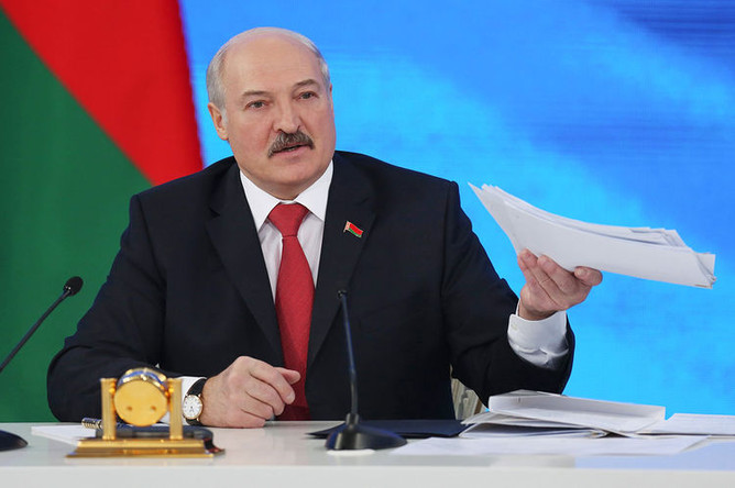 Президент Белоруссии Александр Лукашенко на пресс-конференции в Минске, 2017 год