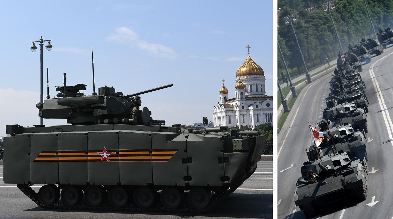 Боевая машина пехоты (БМП) на гусеничной платформе «Курганец-25» и танк Т-14...