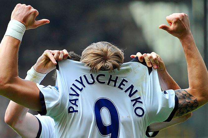 Игрок «Тоттенхэма» Роман Павлюченко на матче Английской премьер-лиги, 2011 год