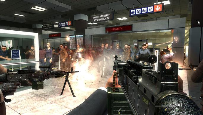 Сцена расстрела мирных граждан в аэропорту в миссии «Ни слова по-русски», кадр из игры «Call of Duty: Modern Warfare 2»