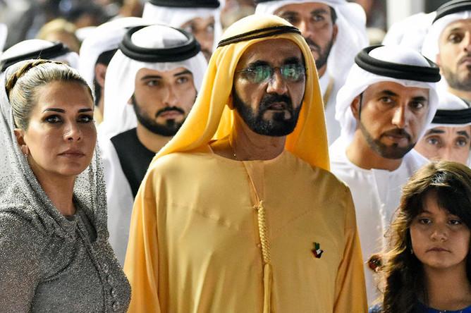 Премьер-министр ОАЭ, правитель Дубая шейх Мохаммед бен Рашид Аль Мактум и принцесса Хайя бинт аль-Хусейн, 2016 год