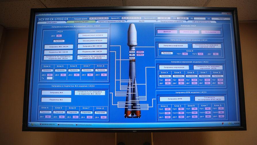 Пульт управления запуском ракеты-носителя «Союз-2.1б» со спутником военного назначения перед стартом с космодрома «Плесецк» в Архангельской области.