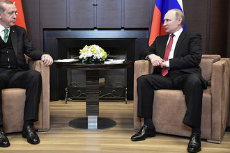 Владимир Путин и Реджеп Тайип Эрдоган во время встречи в Сочи